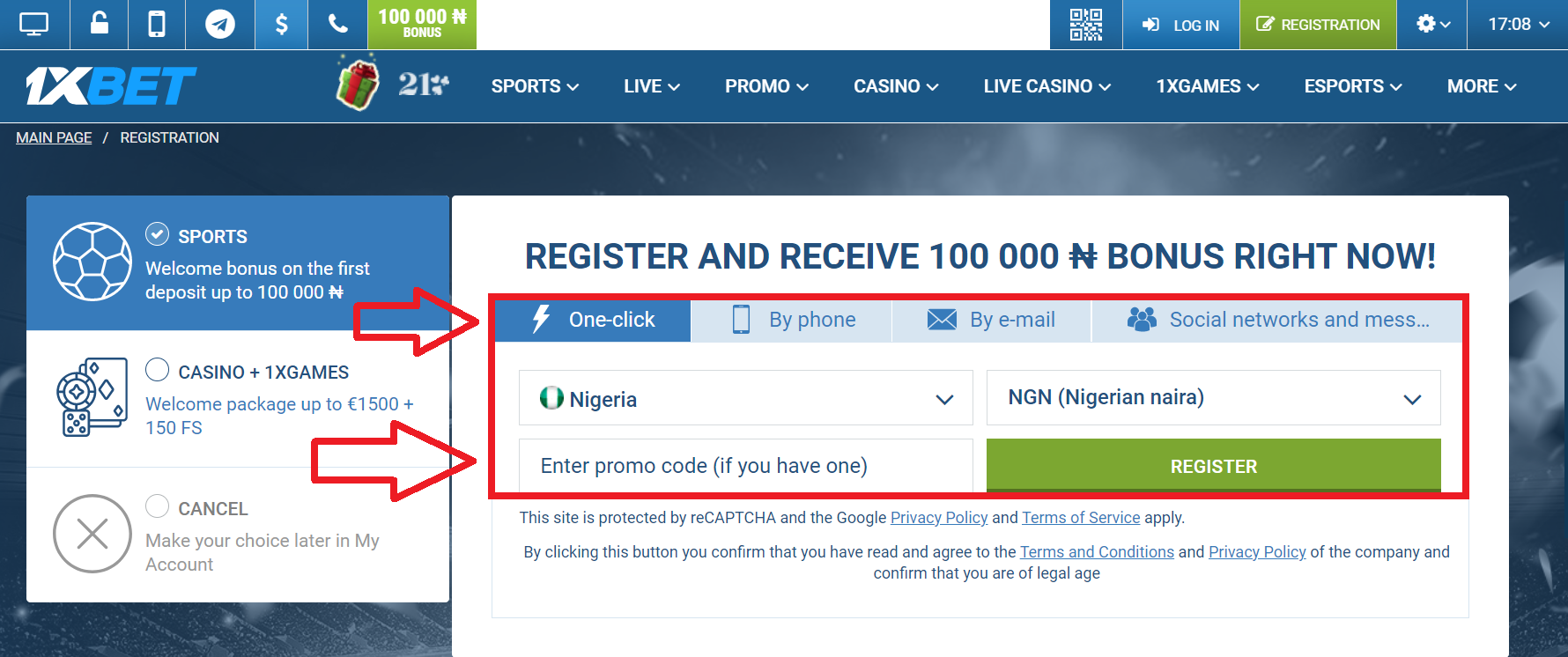 1xBet registration process by phone number