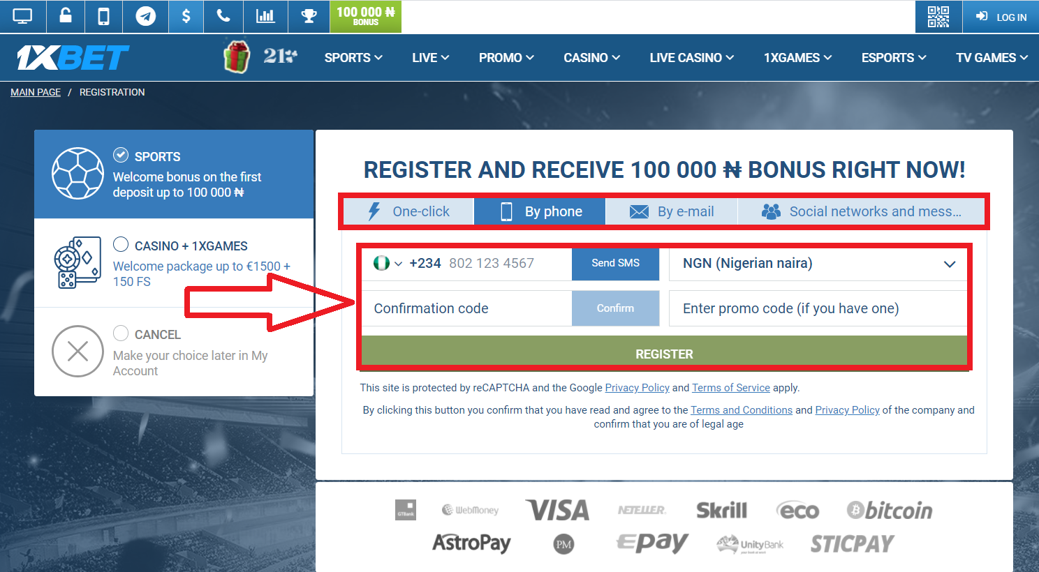1xBet registration promo through social networks and instant messengers